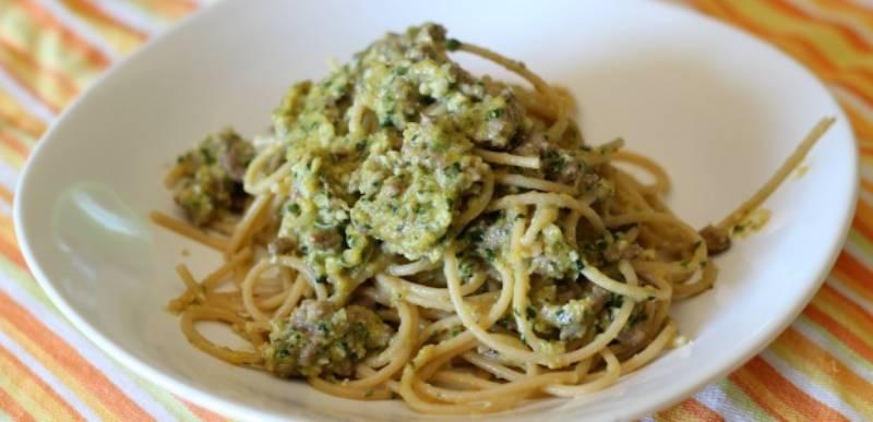 spaghetti integrali al pesto di zucca